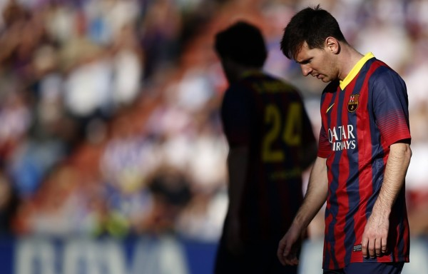 Lionel Messi looking disappointed