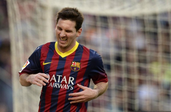 Lionel Messi putting on an ugly face