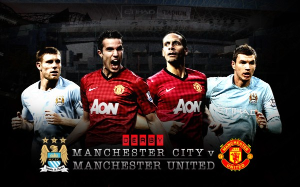 Manchester United vs Manchester City game poster flyer