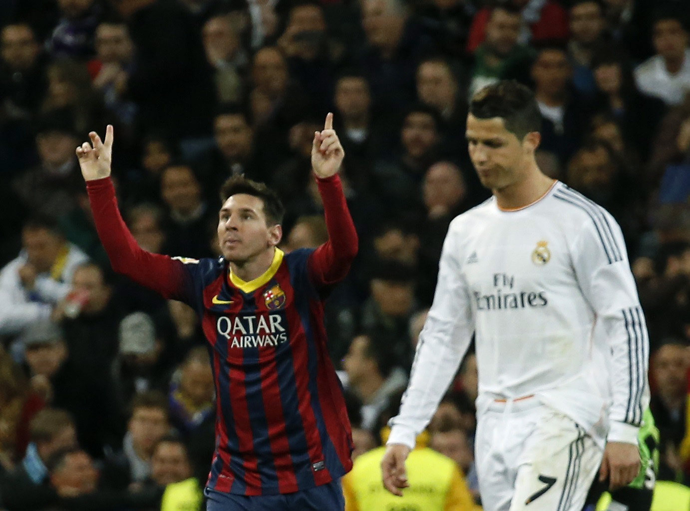 Messi celebrating with Cristiano Ronaldo crying over referee's decisions