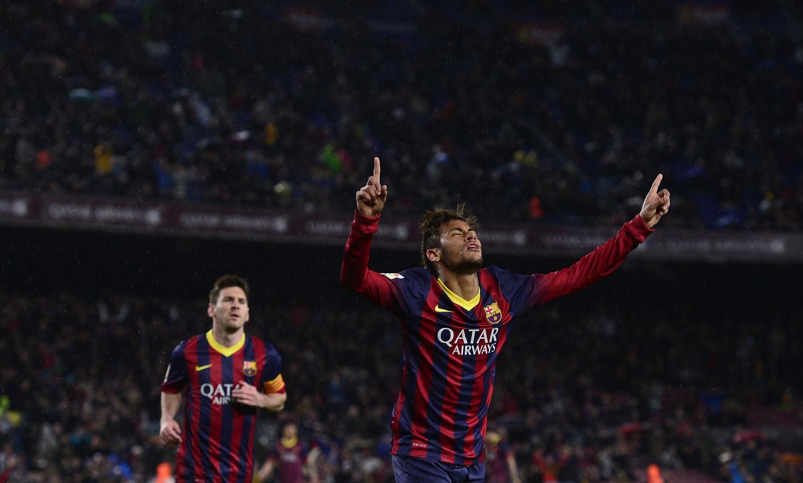 Neymar and Lionel Messi in Bacelona goal