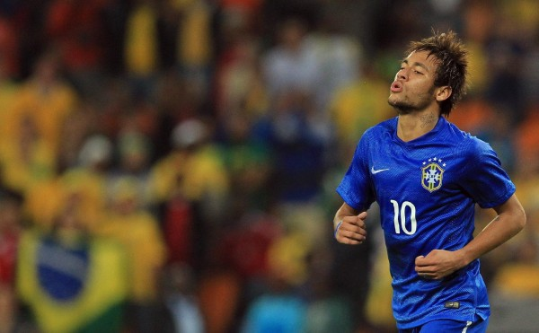 Neymar in a Brazil blue jersey, in the FIFA World Cup 2014
