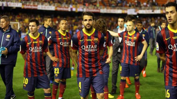 Barcelona players reaction after losing the Copa del Rey final