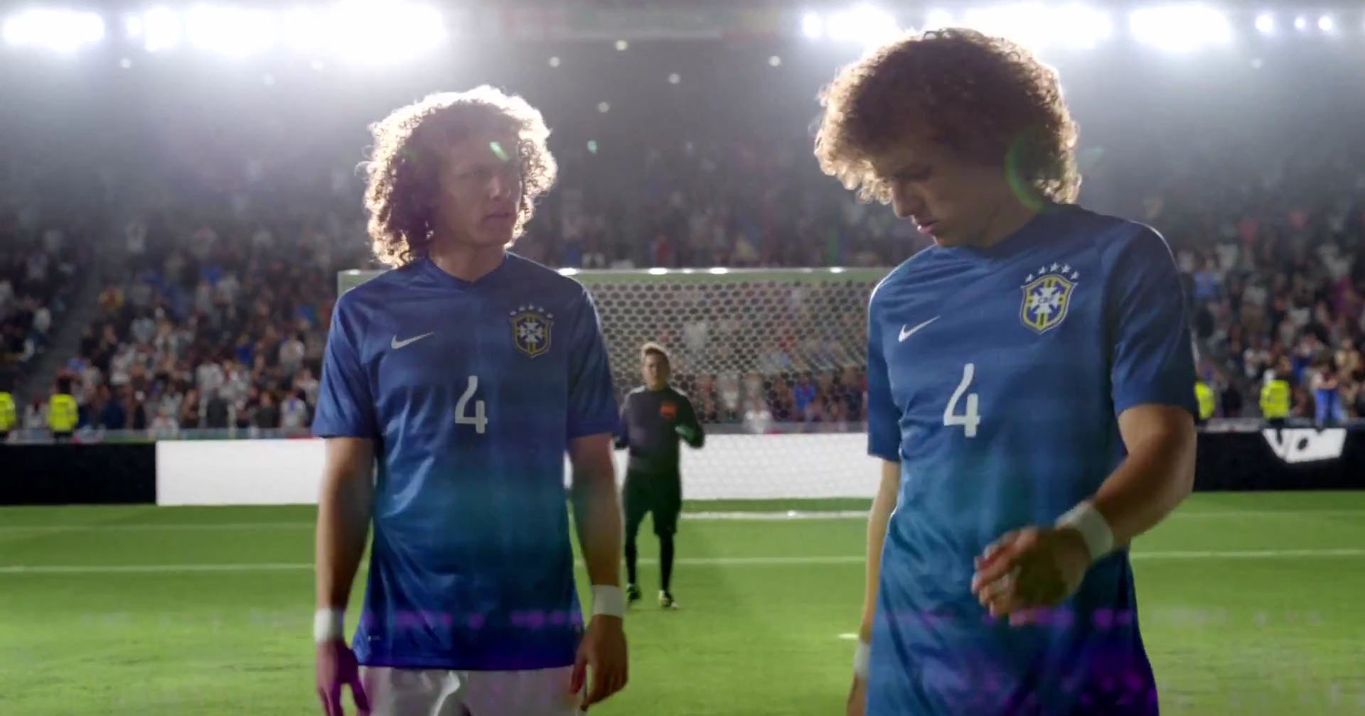 David Luiz and his twin double in the new Nike video ad