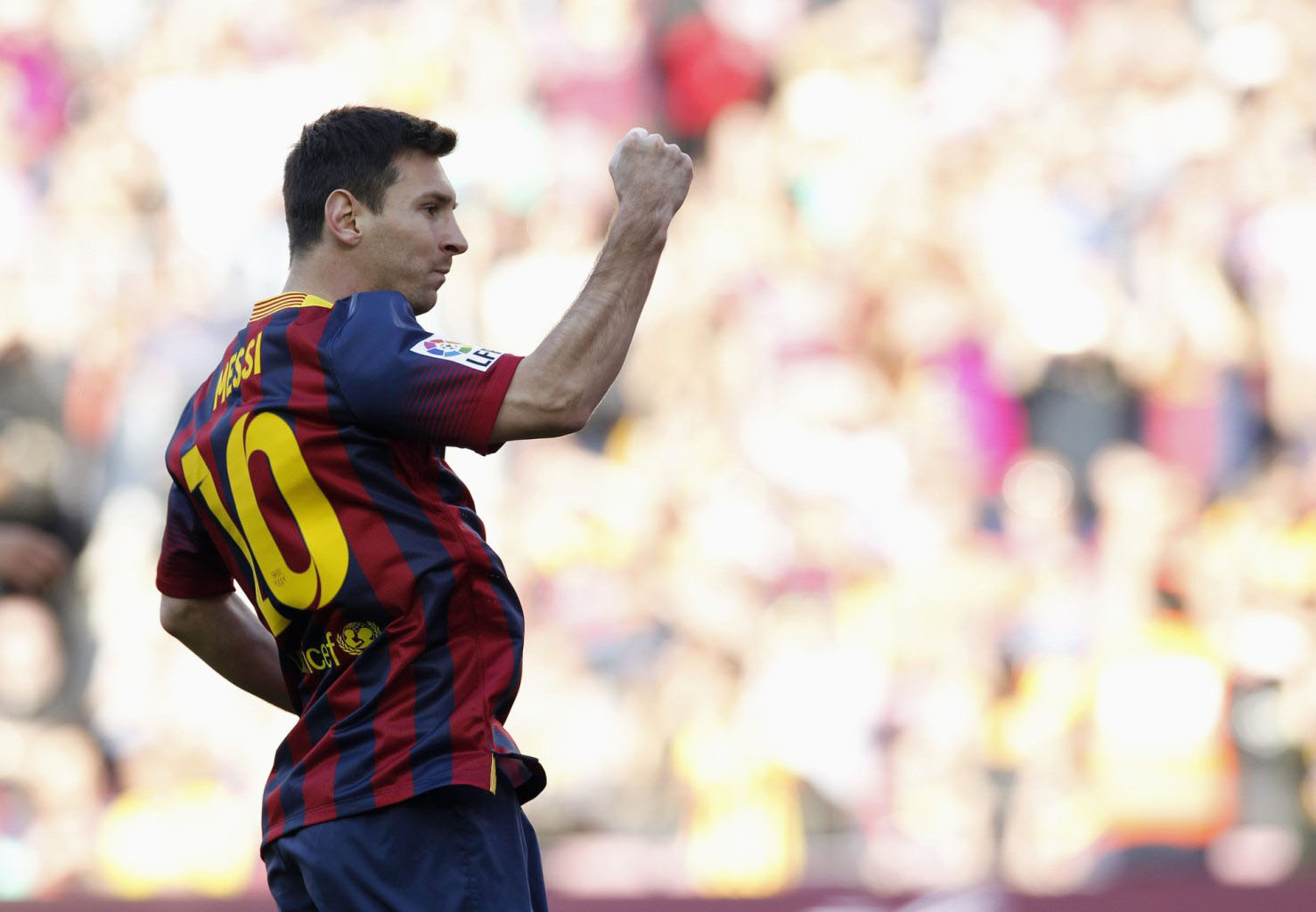 Lionel Messi celebrating another goal in the league