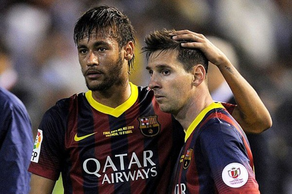 Neymar and Lionel Messi after losing the Clasico