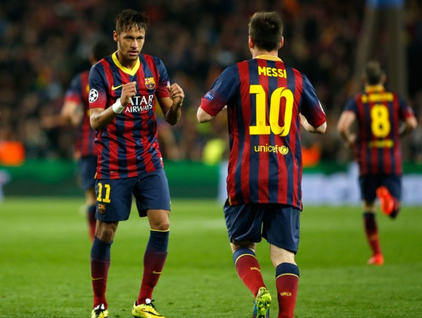 Neymar and Messi in FC Barcelona for the Champions League