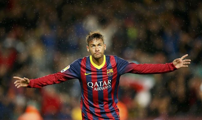 Neymar goal celebration in Barça
