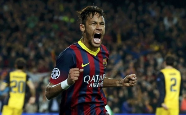 Neymar goal celebration in Champions League Barcelona 1-1 Atletico Madrid
