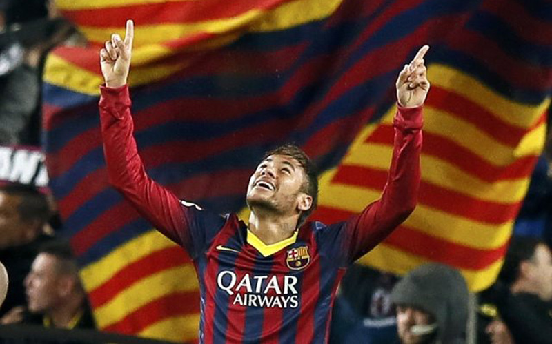 Neymar playing at the Camp Nou