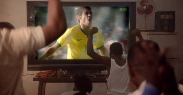 Neymar showing up in the television during the new Nike advertising video campaign