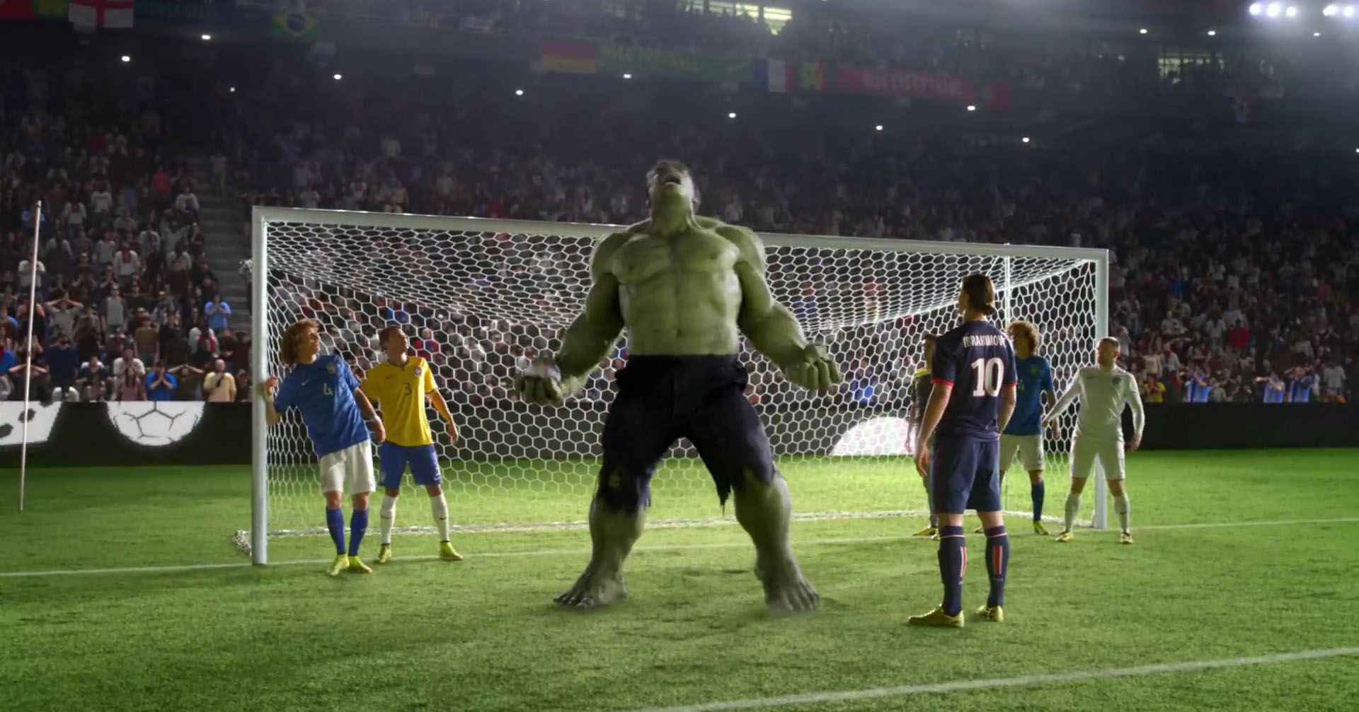 The Hulk in the new Nike video ad, next to Ibrahimovic, Thiago Silva and David Luiz