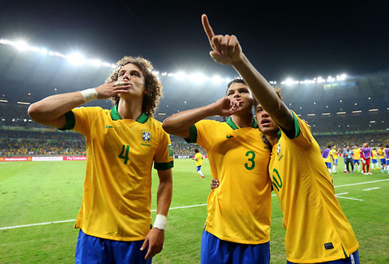 David Luiz, Thiago Silva and Neymar