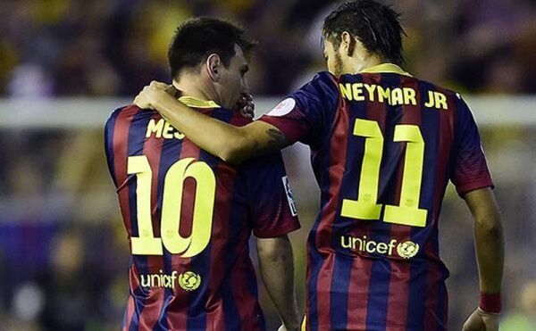 Lionel Messi and Neymar Jr in Barcelona 2014