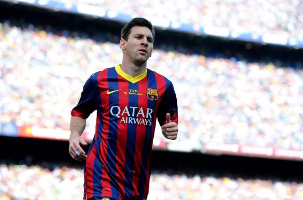 Lionel Messi in FC Barcelona 2014 jersey