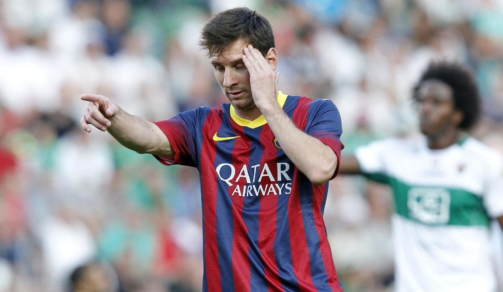 Messi looking sleepy in a Barcelona game in May of 2014