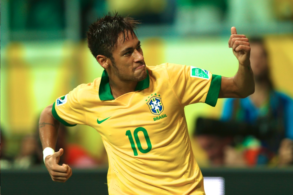 Neymar playing for the Brazilian National Team in 2014