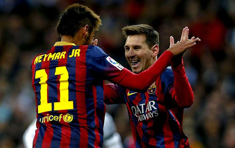 Neymar celebrating goal with Messi