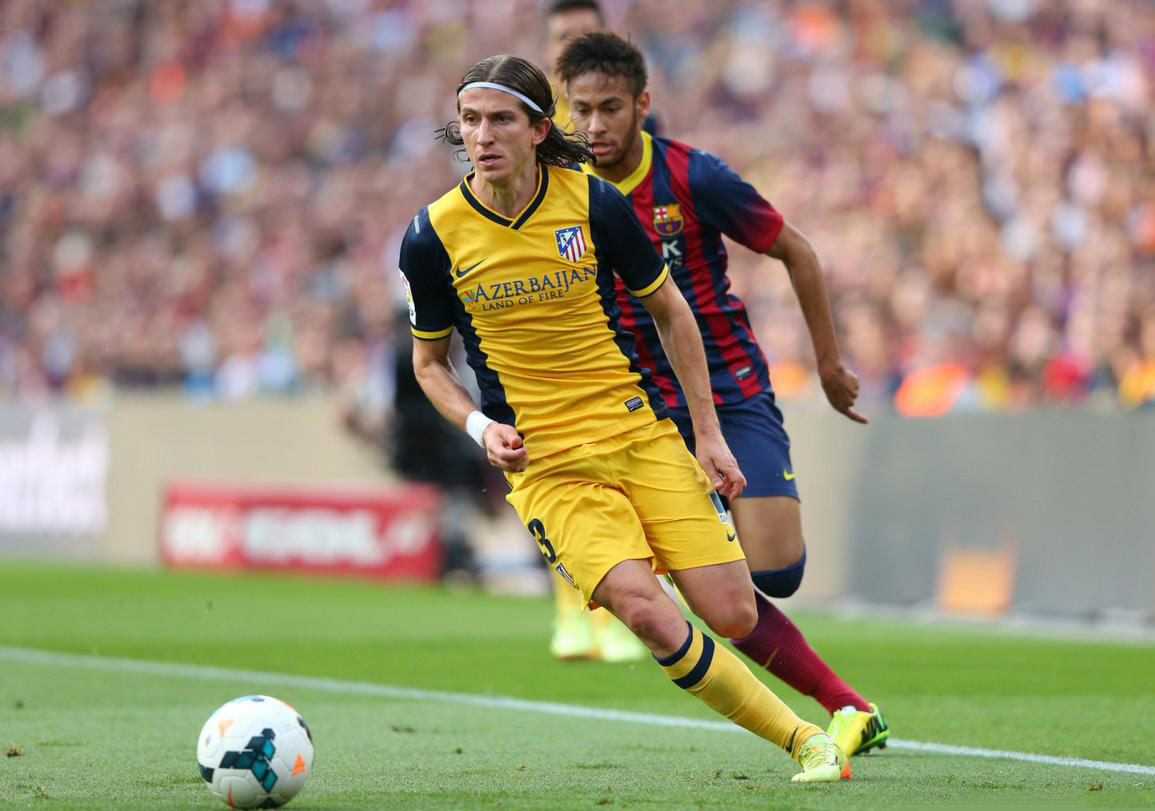 Neymar chasing Filipe Luis in Barcelona vs Atletico Madrid