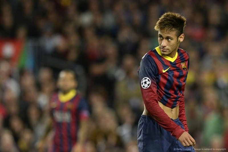 Neymar playing for FC Barcelona in 2013-2014