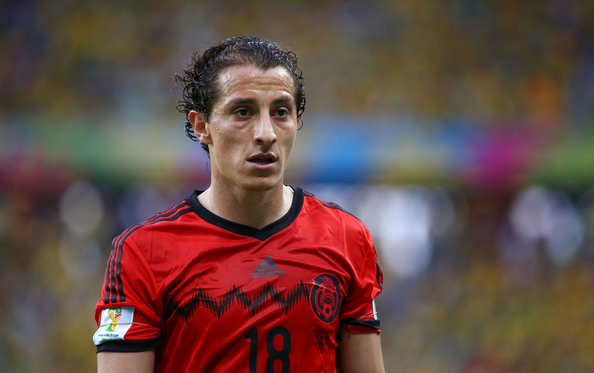 Andrés Guardado in Brazil vs Mexico for the FIFA World Cup 2014