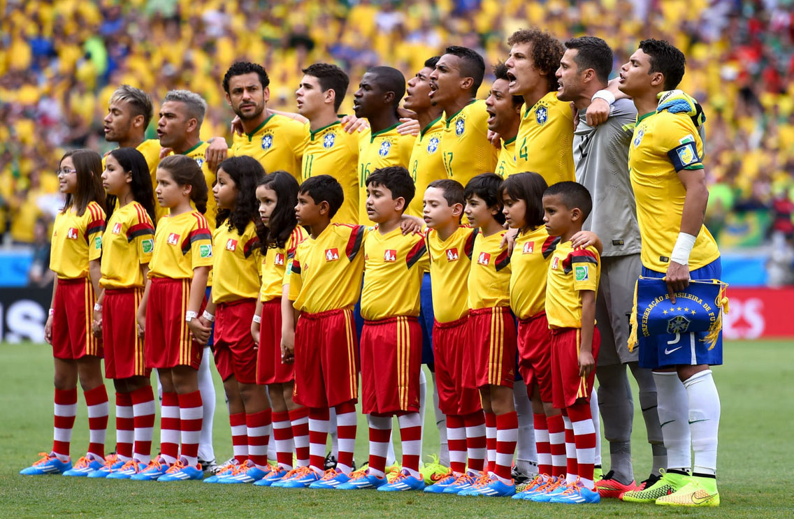 Brazilian players lined up for the National Anthem in the 2014 FIFA World Cup