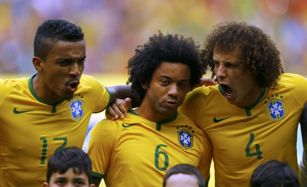 David Luiz all pumped up during the Brazilian National Anthem at the FIFA World Cup 2014