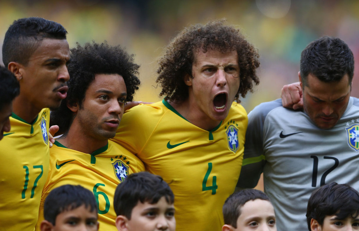 David Luiz getting pumped during Brazil's hymn, in the FIFA World Cup 2014