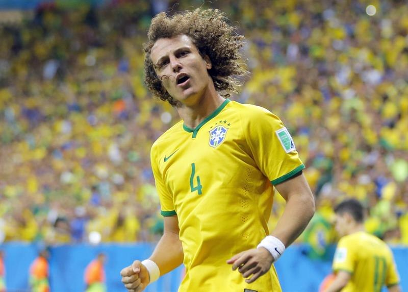 David Luiz playing for Brazil in the FIFA World Cup 2014