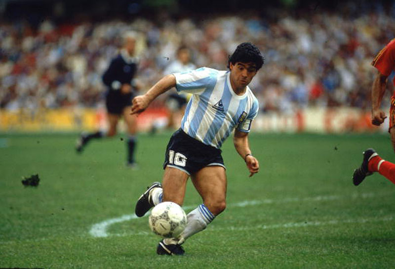 Diego Armando Maradona, playing for Argentina in the 80s