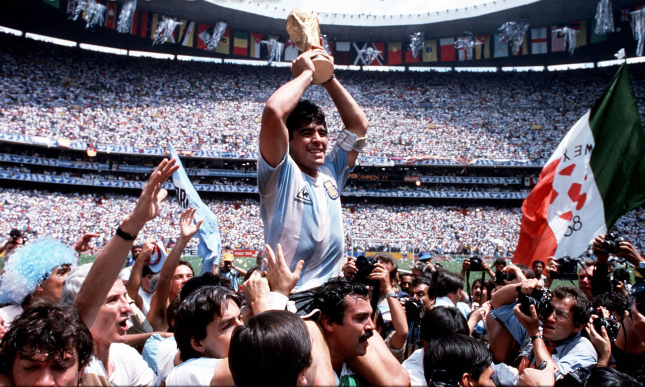 Diego Armando Maradona after winning the FIFA World Cup 1986 for Argentina
