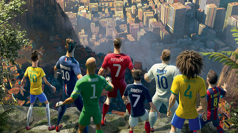 Football players animated version in Nike's advertising video, The Last Game