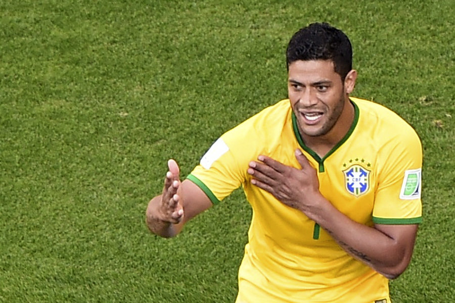 Hulk in Brazil vs Chile, at the FIFA World Cup 2014