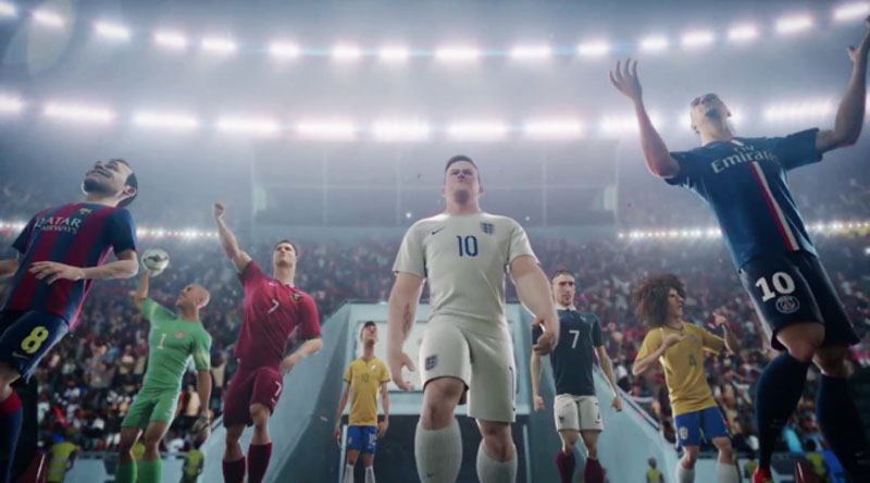 Human players stepping onto the pitch, in Nike's 'The Last Game' animated advert