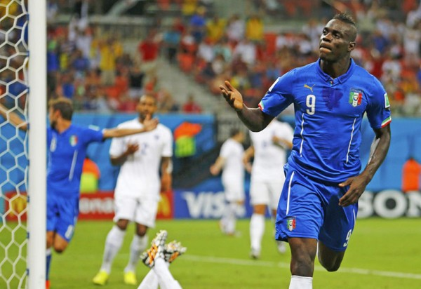 Mario Balotelli goal celebration in Italy vs England, at the FIFA World Cup 2014