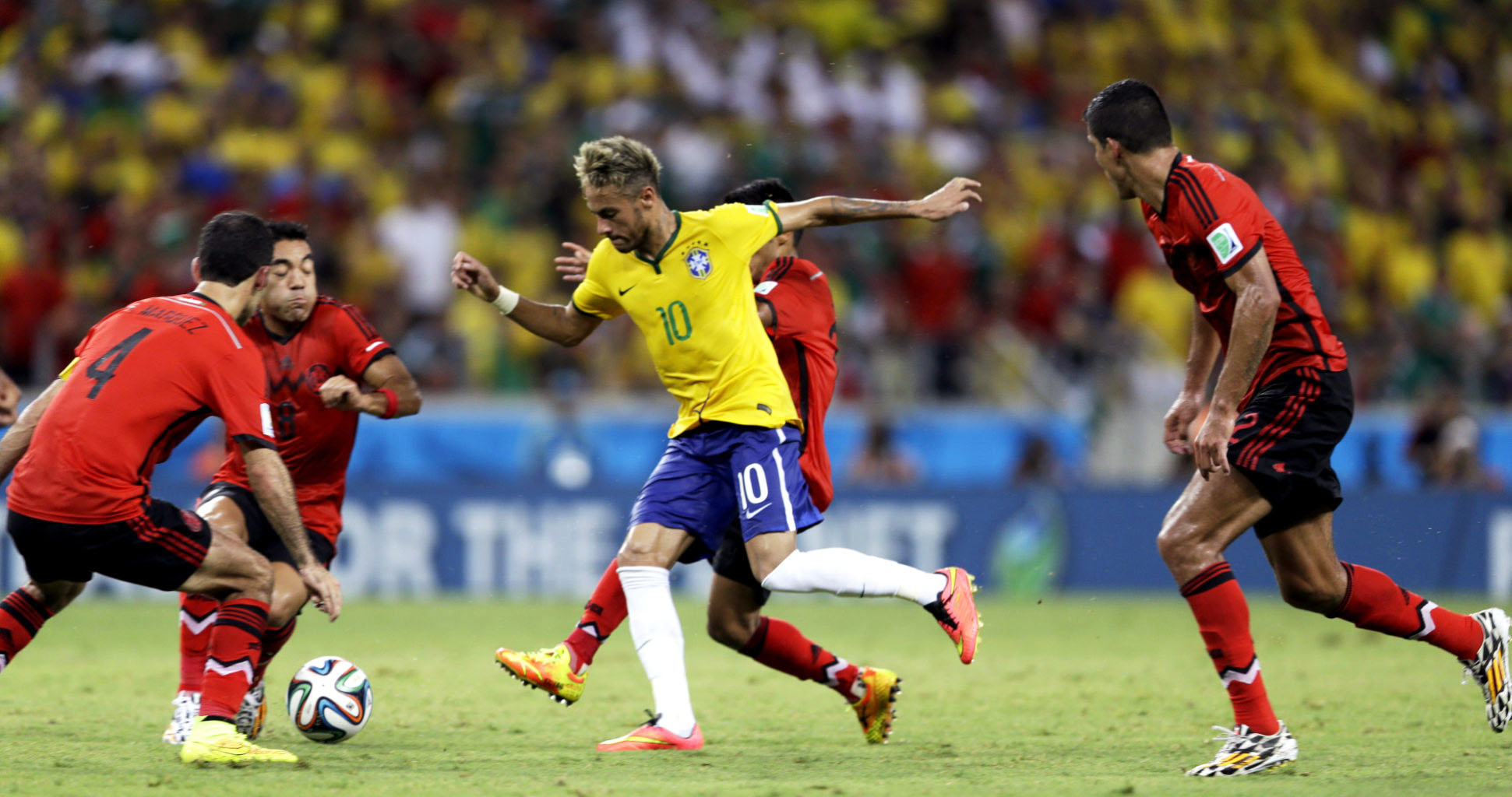 Neymar against Mexico in the FIFA World Cup 2014