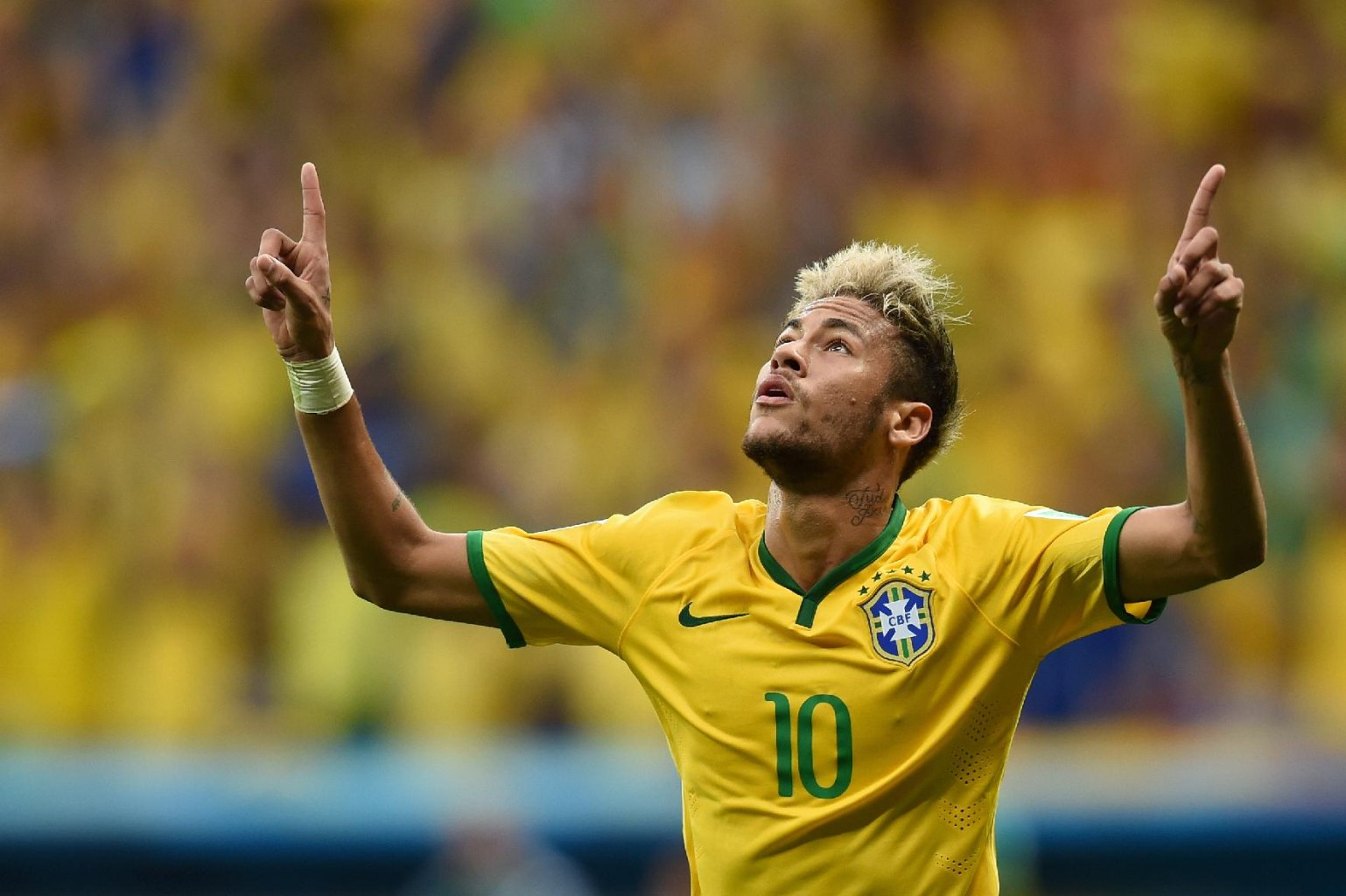 Neymar with Brazil's number 10 jersey in the FIFA World Cup 2014