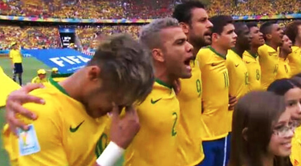 Neymar breaks down in tears after Brazil's National Anthem vs Mexico