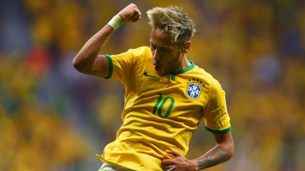 Neymar celebrating his goal in Brazil 4-1 Cameroon, in the FIFA World Cup 2014