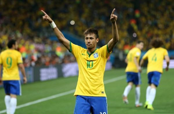 Neymar celebrating his first goal in the World Cup 2014