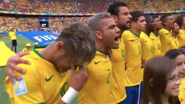 Neymar crying during Brazil's hymn in the FIFA World Cup 2014