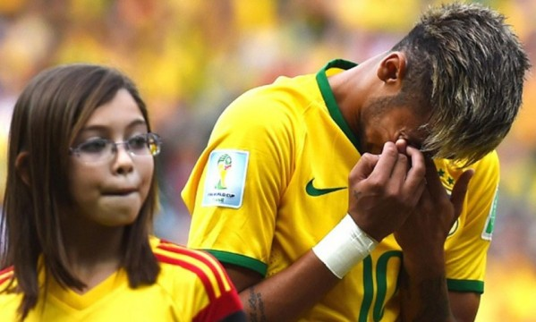 Neymar crying following an emotional Brazil National Anthem against Mexico