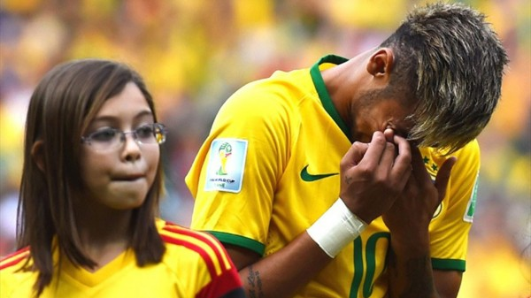 Neymar crying in Brazil's National Anthem, in the FIFA World Cup 2014