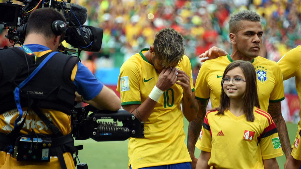 Neymar crying tears of emotion during Brazil's National Anthem in the FIFA World Cup 2014