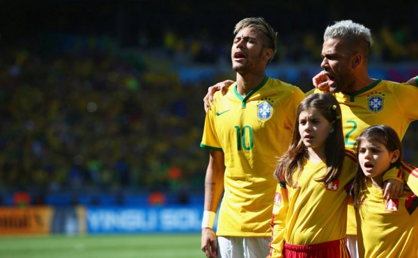 Neymar during the Brazilian National Anthem, in the FIFA World Cup 2014