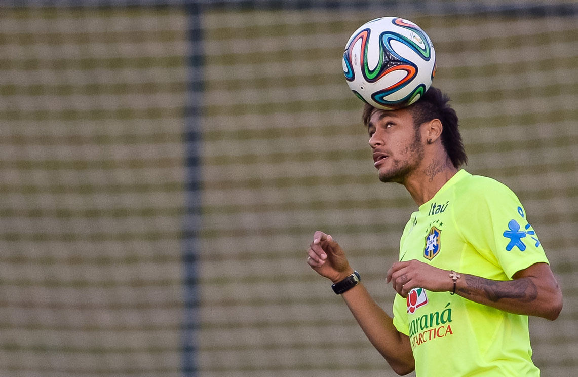 Neymar exercising skills with his head