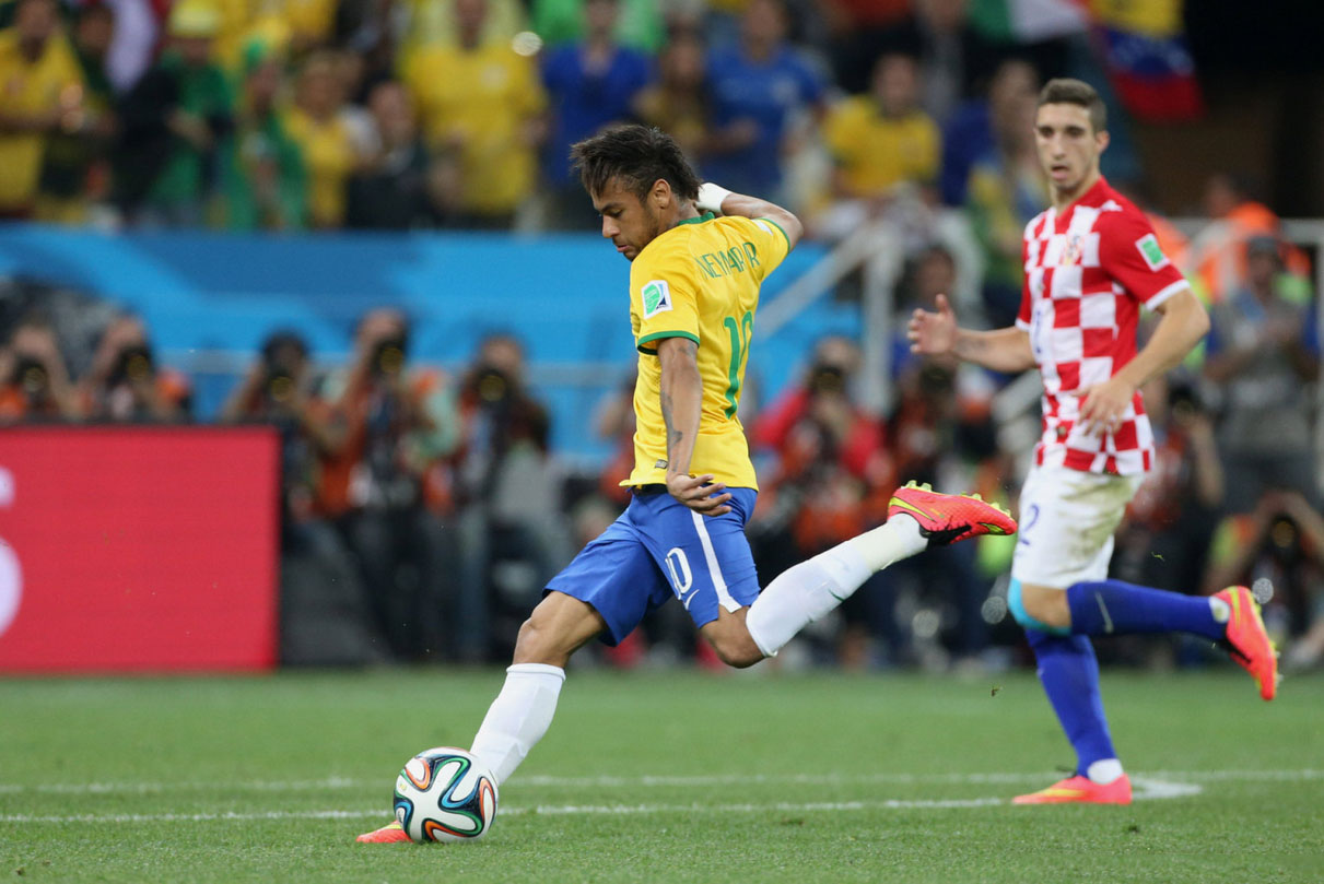 Neymar's first goal in Brazil vs Croatia, at the 2014 World Cup
