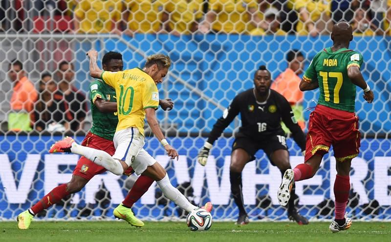 Neymar goal in Brazil vs Cameroon, at the FIFA World Cup 2014