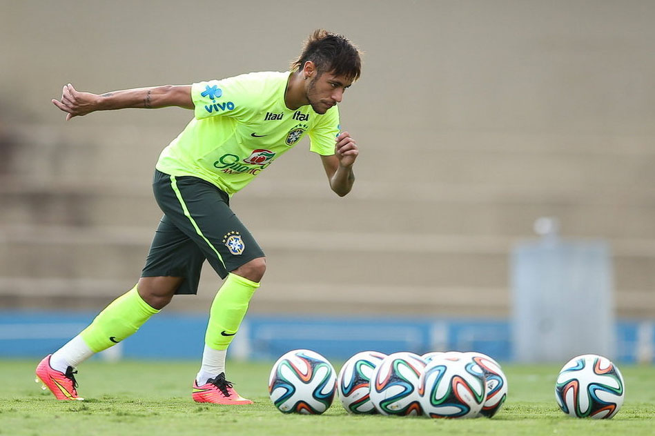 Neymar in Brazil Team practice for the World Cup 2014
