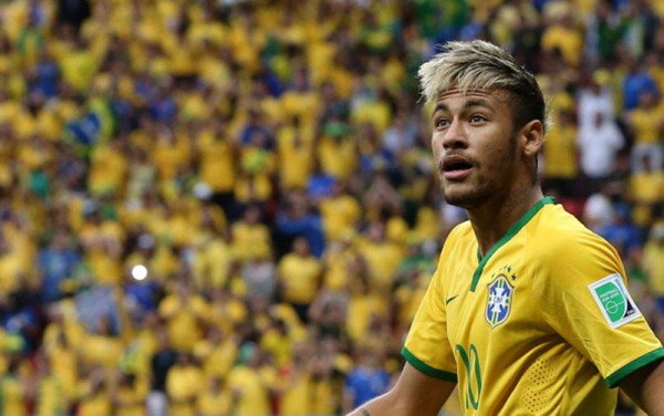 Neymar in Brazil vs Cameroon at the FIFA World Cup 2014